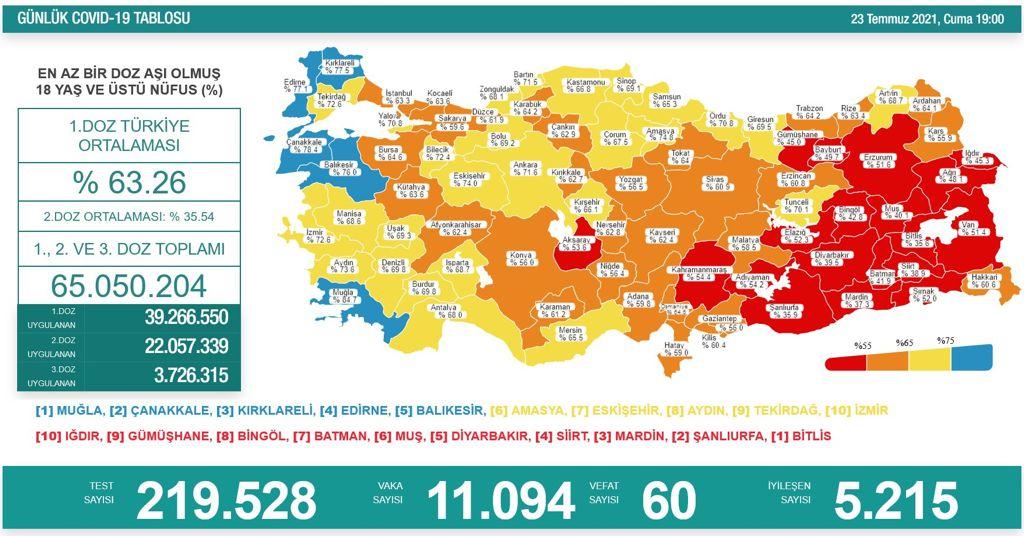 Koronavirüs salgınında günlük vaka sayısı 11 bin 94 oldu